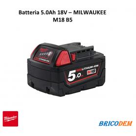 BATTERIA MILWAUKEE M18 B5 18V 5Ah ORIGINALE PER UTENSILI
