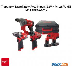 MILWAUKEE M12FPP3A-602X Trapano + Tassellatore + Avvitatore 2 Batterie 12V 6.0Ah