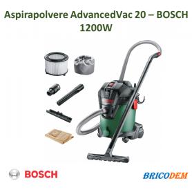 Bosch Home and Garden AdvancedVac 20 Aspiratore, 20/13.5 litri, Verde/Nero