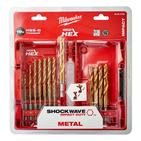 Milwaukee Shockwave Punte Metallo Titanio Professionali HSS-G RED HEX 19Pz