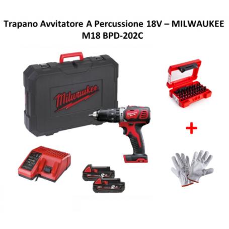 Milwaukee M18 BPD-202C, trapano avvitatore batteria 18V percussione 2 batt.2.0A