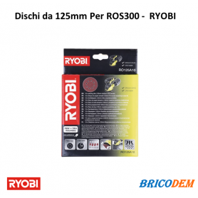Ryobi RO125A10 - Set 10 dischi abrasivi velcrati e forati 125mm per levigatrice ROS300