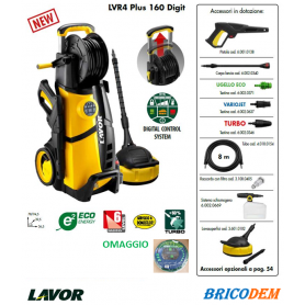 Lavor LVR4 Plus 160 Digit - Idropulitrice 160 bar Acqua Fredda con Avvolgitubo
