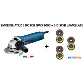Smerigliatrice angolare Bosch GWS 1000 prof 1000W 125mm + 3 dischi lamellari