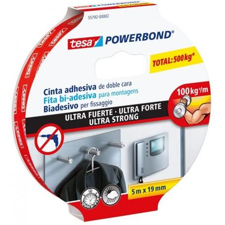 Nastro Biadesivo per Fissaggio tesa Powerbond Ultrastrong, 5m x 19mm, Standard