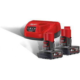 Milwaukee Starter Set 12 Volt 4933459211 M12NRG-402 2 X 12 V/4,0ah Ioni di Litio