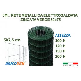 5Mt Rotolo rete metallica zincata elettrosaldata plastificata 5x7,5cm recinzione