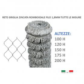 25mt. Rete romboidale griglia zincata maglia 50X50 filo 1,8mm