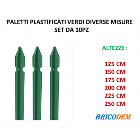 Paletti per recinzione plastificati per rete metallica altezza CM SET 10 PZ