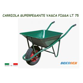 Carriola vasca fissa completa di ruota e vasca per edilizia giardinaggio Ecc 75 Lt