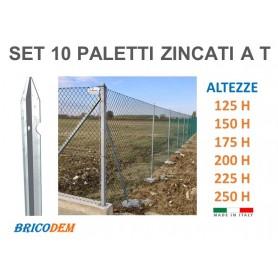 Paletti per recinzione  zincati per rete metallica diverse altezze CM SET 10 PZ