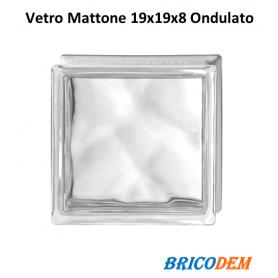 VETROMATTONE ONDULATO CHIARO trasparente 19x19x8 cm MATTONE VETRO