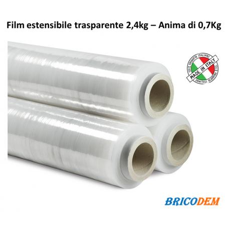 6 Bobine Film Estensibile Trasparente da 2,4Kg 50cm Pellicola Manuale