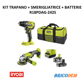 KIT TRAPANO R18PD3 + SMERIGLIATRICE R18AG + BATTERIA 2.0AH E 4.0AH R18PDAG-242 S RYOBI