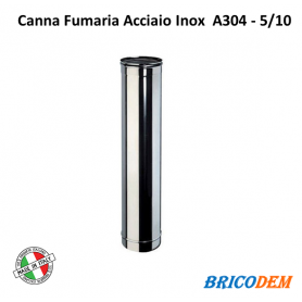 TUBO IN ACCIAIO INOX CANNA FUMARIA ELEMENTO LINEARE 100CM