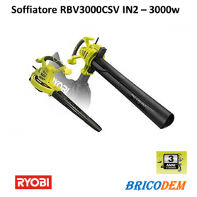 Ryobi RBV3000CSV Elettrico Soffiatore foglie, Biotrituratore, Aspiratore