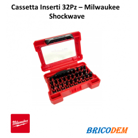 Kit cassetta Inserti 1/4 Milwaukee 32 pezzi Shockwave per avvitatori ad impulsi
