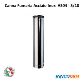 TUBO IN ACCIAIO INOX CANNA FUMARIA ELEMENTO LINEARE 50CM