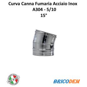 CURVA IN ACCIAIO INOX CANNA FUMARIA 15°