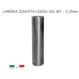Lamiera zincata liscia piana a foglio 200X100 Cm  2x1 Mt N. 32 Spess. 0,25 mm