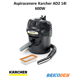 Aspiracenere a bidone Karcher AD 2, vano raccolta in metallo da 14 lt - 600 W