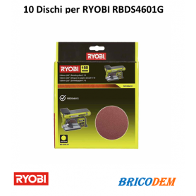 10 Dischi Diamante Ryobi Auto Gancio 150 mm - Grana 80 SD150A10