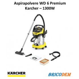 Aspiratore multiuso Karcher WD 6 P Premium - soffiatore - bidone 30 lt, 1300W