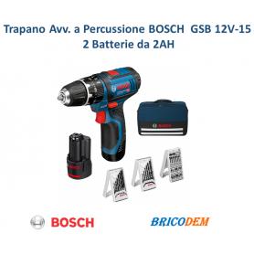 BOSCH GSB 12 V-15 TRAPANO AVVITATORE A BATTERIA A LITIO A PERCUSSIONE CON ACC.