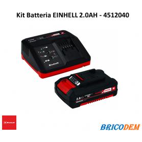Caricabatteria rapido con batteria Einhell Power-X-Change 18V LITIO Kit 2 AH