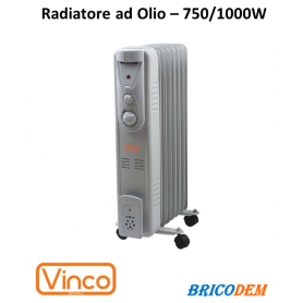 Stufa elettrica ad olio/Radiatore oleodinamico 7 elementi 100W Vinco - 70500